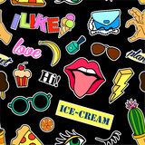 Seamless pattern with fashion patch badges. Pop art. Vector background stickers, pins, patches in cartoon 80s-90s comic. Seamless pattern with fashion patch Royalty Free Stock Photos