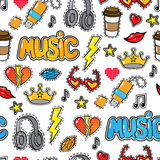 Seamless pattern with fashion patch badges, stickers in comic style Royalty Free Stock Photo