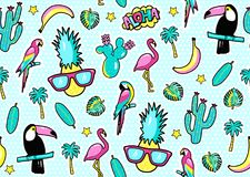 Seamless pattern with fashion patch badges with toucan, flamingo, parrot, exotic leaves, hearts, stars, speech bubbles, pineapple. Vector illustration in Royalty Free Stock Photos