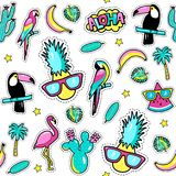 Seamless pattern with fashion patch badges with toucan, flamingo, parrot, exotic leaves, hearts, stars, speech bubbles, pineapple. Vector illustration in Royalty Free Stock Photo