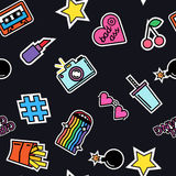 Seamless pattern of fashion patches and badges. Royalty Free Stock Images