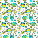Seamless pattern with fashion patches. Royalty Free Stock Images