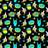 Seamless pattern with fashion patches. Stock Photography