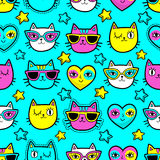 Seamless pattern with fashion patches. Seamless pattern with fashion patch badges with cats, hearts and stars.Vector background with stickers, pins, patches in Royalty Free Stock Photography