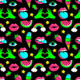 Seamless pattern with fashion patches. vector illustration