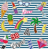 Seamless pattern with Fashion patches. stickers, pins and handwritten notes collection in cartoon 80s-90s comic style Stock Photo