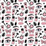Seamless pattern fashion style.Beauty makeup cosmetic bottles hand drawing. Vector illustration is isolated on a white background. Seamless pattern fashion royalty free illustration