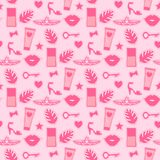 Seamless pattern fashion style for cute girls. Abstract cosmetic bottles.Vector sticker hand drawing illustration pink background. Seamless pattern fashion royalty free illustration