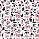 Seamless pattern beauty makeup for cute girls. Abstract cosmetic bottles hand drawing. Vector illustration on a white background. Seamless pattern fashion style vector illustration