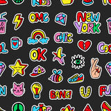 Seamless pattern with fashionable patch badges set, on black background Stock Photography