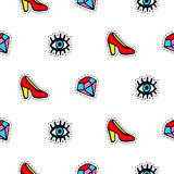 Seamless pattern with fashionable patch badges set, red shoes, eyes and diamonds, isolated on white background Stock Images