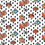 Seamless pattern with fashionable patch set. Hand drawn lips, love background Royalty Free Stock Image