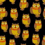 Seamless pattern with fashionable retro owls. Vector illustration, repeated background of nature creations Stock Image