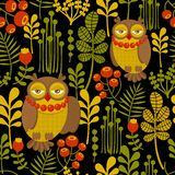 Seamless pattern with fashionable retro owls. Stock Photography