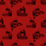 Seamless pattern with fast food combo dinners on burgundy background  Royalty Free Stock Photos