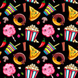 Seamless pattern fast food Royalty Free Stock Image