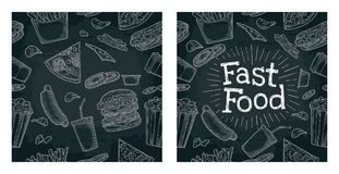 Seamless pattern fast food. Royalty Free Stock Photo