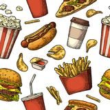 Seamless pattern fast food. Stock Images