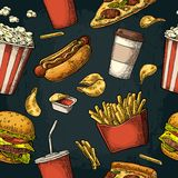 Seamless pattern fast food. Stock Photography