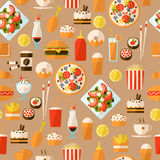 Seamless pattern with fast food and drink. Seamless pattern with fast food and drink for textiles, interior design, for book design, website background Royalty Free Stock Photo