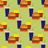 Seamless pattern with fast food Stock Photos