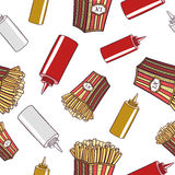 Seamless Pattern Fast Food French Fries Royalty Free Stock Images