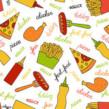 Seamless pattern with fast food Royalty Free Stock Photos