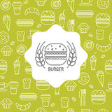 Seamless pattern with fast food icons. vector illustration