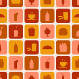 Seamless pattern of fast food icons. For textiles, interior design, for book design, website background Stock Images