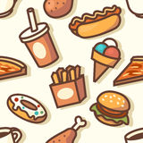 Seamless pattern with fast food icons Stock Photography