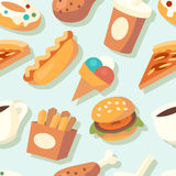Seamless pattern with fast food icons. Vector illustration Royalty Free Stock Images