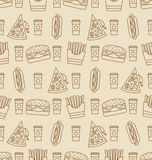 Seamless Pattern with Fast Food Stock Photography