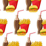 Seamless pattern of fast food products Stock Photo