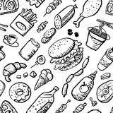 Seamless pattern with fast food products Royalty Free Stock Images