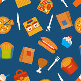 Seamless pattern with fast food symbols. Menu background Royalty Free Stock Image