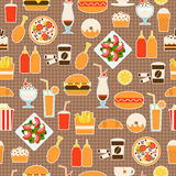 Seamless pattern of fast food Stock Photo