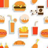 Seamless pattern of fast food Stock Photos