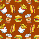 Seamless pattern with fast food Stock Images