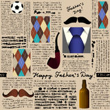 Seamless pattern of fathers day. Color vector illustration Stock Images
