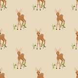 Seamless pattern with a fawn on a beige background. Seamless pattern with a fawn stock images