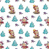 seamless pattern with fawn and birds royalty free illustration