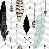 Seamless pattern with feather and arrows. Chevron Royalty Free Stock Image