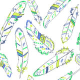 Seamless pattern with feathers in american indians style, vector Royalty Free Stock Photography