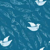 Seamless pattern with feathers and birds Royalty Free Stock Photo