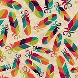 Seamless pattern with feathers on crumpled paper Stock Photos