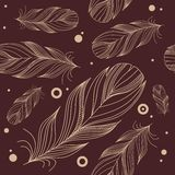 Seamless pattern with feathers Stock Photography