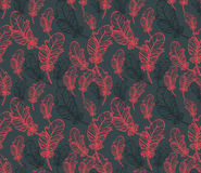 Seamless Pattern with Feathers Eggs Royalty Free Stock Images