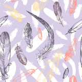 Seamless pattern with feathers stock illustration