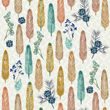 Seamless pattern with feathers and herbs with traditional American folk style Stock Images
