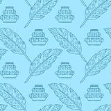 Seamless pattern with feathers and inkpots Stock Photo